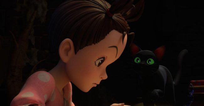 A young girl with her hair tied up in two small ponytails looks downwards, while a small black cat with large green eyes looks up at her